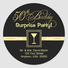 Elegant return address labels for party invitations. Customize with your return address or personal message. Matching postage, cards, and invitations in gallery. Size: inch (sheet of Gender: unisex. Return Address Stickers, Return Address Labels, 50th Birthday Invitations, Custom Address Labels, Addressing Envelopes, Custom Stickers, Messages, Elegant, Gallery