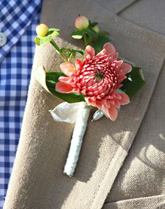 coordinating pink boutonniere