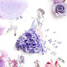 Artist Grace Ciao's Illustration Grace Ciao, Fashion Illustration Dresses, Fashion Sketches, Art Sketches, Art Drawings, Flower Petals, Flower Art, Art Flowers, Floral Illustrations