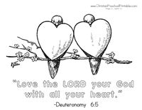 """Valentine's Day Bible Coloring Page """"Love the LORD your God with all your heart"""""""