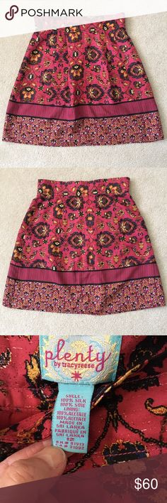 "Plenty by Tracy Reese Silk Burgundy Print Skirt Beautiful burgundy, golden majestic printed 100% silk skirt from Plenty by Tracy Reese/Anthropologie. A-Line silhouette, minor pleating detail, invisible back zipper, fully lined (acetate).  Waist measures 16.5"" across, length measures 23"", pair with a black blouse or sweater and high boots for a sophisticated look.  No stains or marks, no pulls in the silk. Skirts A-Line or Full"