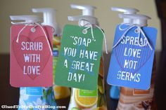 """Want to gift something to your child's teacher today? I have the perfect tag to really """"snaz"""" it up. Check out our Hand Soap Gift post! Personalized Christmas Gifts, Diy Christmas Gifts, Christmas Ideas, Christmas Soap, Holiday Gifts, Teacher Appreciation Gifts, Teacher Gifts, Volunteer Appreciation, Teacher Stuff"""