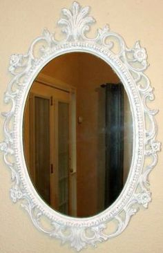 Vintage mirror redone with Annie Sloan Old White & lightly distressed