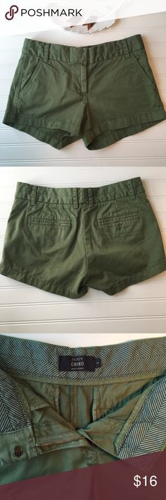 """J Crew Chino Shorts J Crew chino shorts with 3"""" inseam.  Versatile olive green color.  Excellent condition.  100% cotton.  Size 2. J. Crew Shorts"""