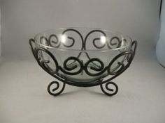 Clear+Glass+Bowl+with+Wrought+Iron+Stand+by+EconomicElegance
