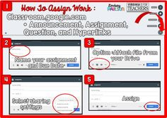 Easy directions on how to use Google Classroom to assign work.