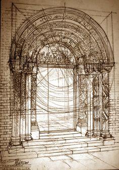 architectural sketches by Maja Wrońska, via Behance