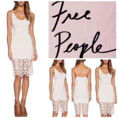 "Free People Shell (Pink) Lace Trim Bodycon.  NWT. Free People Shell (Soft Pink) Lace Trim Slip Bodycon, 92% polyester, 8% spandex, trim is nylon and spandex, washable, 18"" armpit to armpit ( 36"" all around), 43"" length, a curve hugging slip cut from slinky jersey and detailed with laser-cut lace trim, V neckline and square back, measurements are approx. ...No Trades... Free People Dresses Midi"