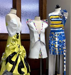 Students Recycle Vinyl Banners, Create New Designs — Susan Miller, Ph.D., recently asked students in her Creative Problem Solving class to recycle old vinyl banners into clothing designs. Their work in on display on the first floor of Human Environmental Sciences.
