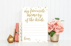 My Favourite Memory of the Bride Printable Card - Bridal Shower Game - Instant Download - Bridal Shower Printable - Gold Confetti - BRS1