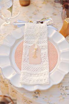 rose gold glitter and gold charms for place settings #placesetting #weddingreception #weddingchicks http://www.weddingchicks.com/2014/04/04/sun-kissed-romantic-wedding/