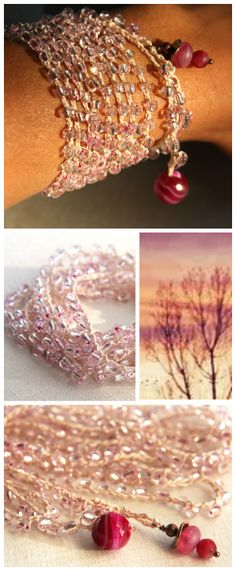 #Pink #Sunset #Boho #Wrap #Bracelet, 8 Wrap #Crocheted Bracelet, or Long Lariat Necklace, Hot Pink Agate, #Ruby and Copper Beads, #Versatile #Jewelry