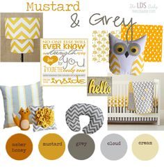 Mustard & Gray Grey Nursery Baby Inspiration Gender Neutral LDS Baby Blog