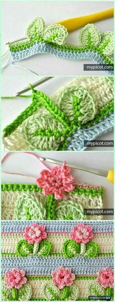 Crochet Edging And Borders Crochet Flower Stitch with Leaf Free Pattern - Crochet Flower Stitch Free Patterns - Crochet Puff Flower, Bag Crochet, Crochet Flower Patterns, Crochet Stitches Patterns, Love Crochet, Crochet Crafts, Crochet Flowers, Crochet Baby, Crochet Projects