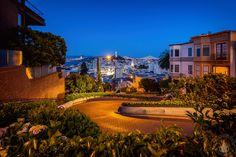 Blick von der Lombard Street auf San Francisco