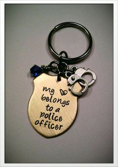 JBK My Heart Belongs to a Police Officer... keychain custom hand stamped  Police 5812d72050d9