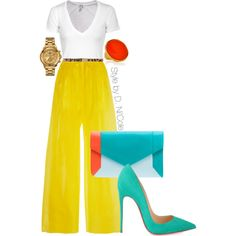 A fashion look from April 2015 featuring Splendid t-shirts, Delpozo pants and Christian Louboutin pumps. Browse and shop related looks. Work Fashion, Runway Fashion, Fashion Looks, Womens Fashion, Fashion Trends, Classy Outfits, Chic Outfits, Fashion Outfits, Inspiration Mode