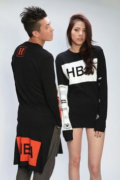 Autumn #2: Hood by Air sweat shirt  The black sweatshirt with red/white on top helps me look slim but because of the blocks of HBA, the eye can travel upward without being interrupted by a horizontal line, the taller the figure will appear.