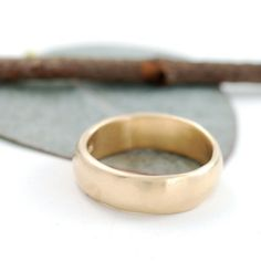 Subtlety Wedding Ring - 6mm 14k yellow gold simple wedding band - ecofriendly made to order ring size in recycled metal