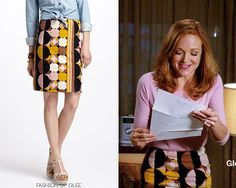 Emma is oh-so-retro in her printed Anthropologie skirt and pale pink sweater. Anthropologie Geo-Mod Velvet Pencil Skirt - $88.00 Worn with: ...