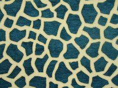 Deep Ocean Blue  Giraffe Chenille Upholstery Fabric