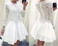 Sexy-Womens-White-Mini-Lace-Prom-Ball-Cocktial-Party-Evening-Short-Dress
