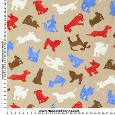 Anti-Pill Coordinate Sketch Dog Fleece Fabric - Animal
