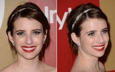 44. Emma Roberts fez um coque baixo e simples. Para dar um ar mais produzido ao look, ela apostou na tiara com cristais.