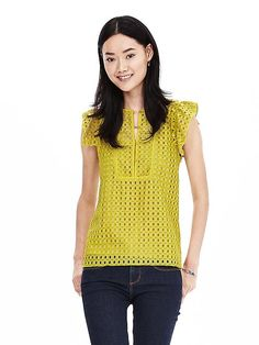 Geo Lace Ruffle Top - Love the bold color.  Not too many people where brights.  Love the texture.