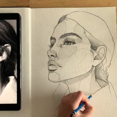 Realistic pencil portrait mastery Discover the secrets of drawing realistic pencil portraits. Pencil Art Drawings, Art Drawings Sketches, Face Sketch, Pencil Portrait, Self Portrait Drawing, Sketch Painting, People Art, Art Sketchbook, Aesthetic Art