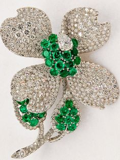 "Emerald and Diamond ""Dogwood"" Brooch by Van Cleef and Arpels from Richters Jewelry"