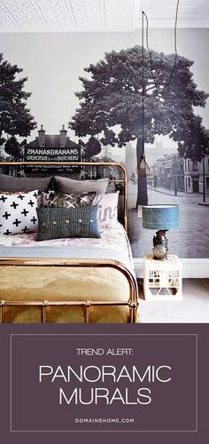 Trend Alert: Panoramic Murals | DomaineHome.com // Bedroom space with panoramic mural on wall.