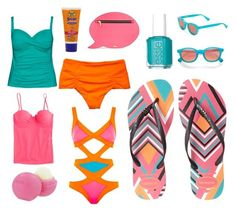 Summer's Coming! by beavercity on Polyvore featuring Agent Provocateur, La Blanca, Boys + Arrows, J.Crew, Havaianas, Skinnydip, Wildfox, Eos, Banana Boat and Essie