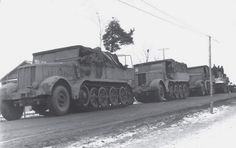 Three Sd.Kfz. 9 Famo halftracks towing a Tiger I. All three wehicles power was needed to move the 56 tons panzer.