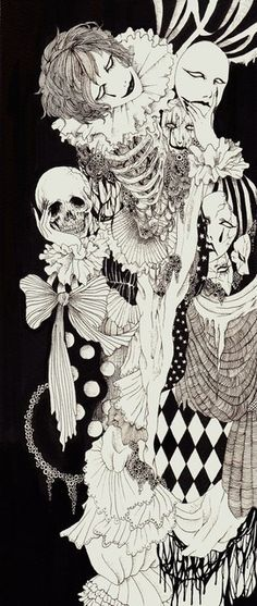 harlequin, horror, and macabre image