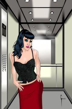 Chica en un ascensor.