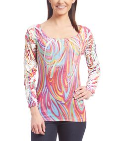 Look what I found on #zulily! Pink Swirl Sublimated Ruched-Sleeve Top by Simply Irresistible #zulilyfinds