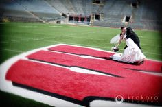 Wedding photos on the Wisconsin field! @Wisconsin Athletics #wisconsin #badgers #wedding