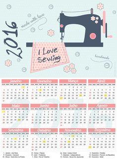 Calendário 2016 grátis - Costura