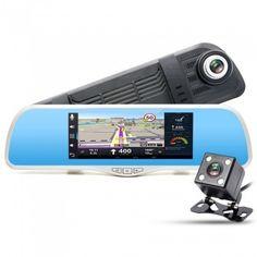 "Junsun 7"" FHD 1080P GPS Navigation Car DVR + Dual Lens Rearview Mirror"