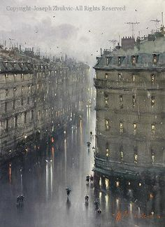 Paris in the Rain - Watercolor by Joseph Zbukvic