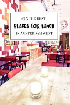 """There are a lot of bars, restaurants and cafes in Amsterdam West. On travel blog http://www.yourlittleblackbook.me you can find a list with the best 23 places you should go to. Planning a trip to Amsterdam? Check http://www.yourlittleblackbook.me/ & download """"The Amsterdam City Guide app"""" for Android & iOs with over 550 hotspots: https://itunes.apple.com/us/app/amsterdam-cityguide-yourlbb/id1066913884?mt=8 or https://play.google.com/store/apps/details?id=com.app.r3914JB"""