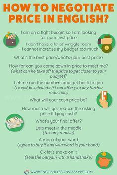 How to Negotiate Price in English. Useful English Phrases to help you negotiate price in English. #learnenglish #englishvocabulary #englishlesson #englishteacher #ingles #aprenderingles Better English, English Vinglish, English Idioms, English Phrases, English Writing, English Tips, English Class, English Words, English Vocabulary