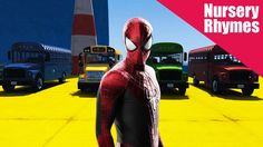 The Wheels on The Bus Spiderman - Nursery Rhymes - For Children - Stunt Park Edition Kids Nursery Rhymes, Wheels On The Bus, Stunts, Spiderman, Superhero, Children, Fictional Characters, Spider Man, Young Children
