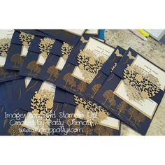 handmade wedding invitations .. navy with gold embossed Lovely as a Tree ... belly band with die cut lacy heart ... Stampin' Up!
