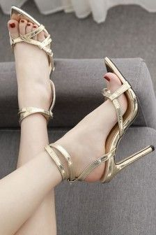 Gold Strappy Ankle Strap Stiletto High Heel Sandals Ankle Strap Sandals, Gladiator Sandals, Types Of Sandals, High Heels Stilettos, Open Toe, Gold, Shoes, Fashion, Moda