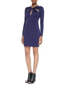 Ponte Twist-Front Cutout Long-Sleeve Dress by Halston Heritage at Neiman Marcus.