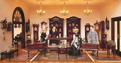 The jeweler in the largest miniature department store in the world. Dollhouse Interiors, Dollhouse Miniatures, Miniature Houses, Miniature Dolls, Doll Museum, Tiny Teddies, General Store, Department Store, Doll Houses