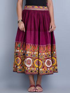 Buy Multi Color Vintage Embroidered and Embellished Skirt Cotton Art Finds A Slice of Heritage Hand Textiles Online at Jaypore.com