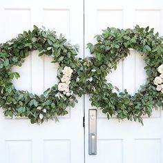 Elaeagnus wreaths for the church doors Greenery Wreath, Floral Wreath, Floral Wedding, Wedding Flowers, Meridian Mississippi, Wedding Doors, Wedding Wreaths, Tablescapes, Wedding Planner